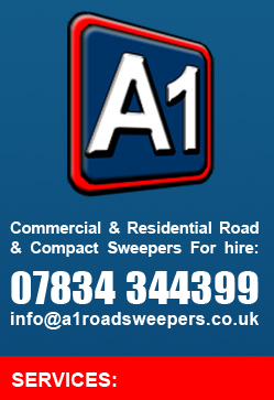 commercial & Residential Road & Compact Sweepers For Hire: 07834 344399 info@a1sweepers.co.uk